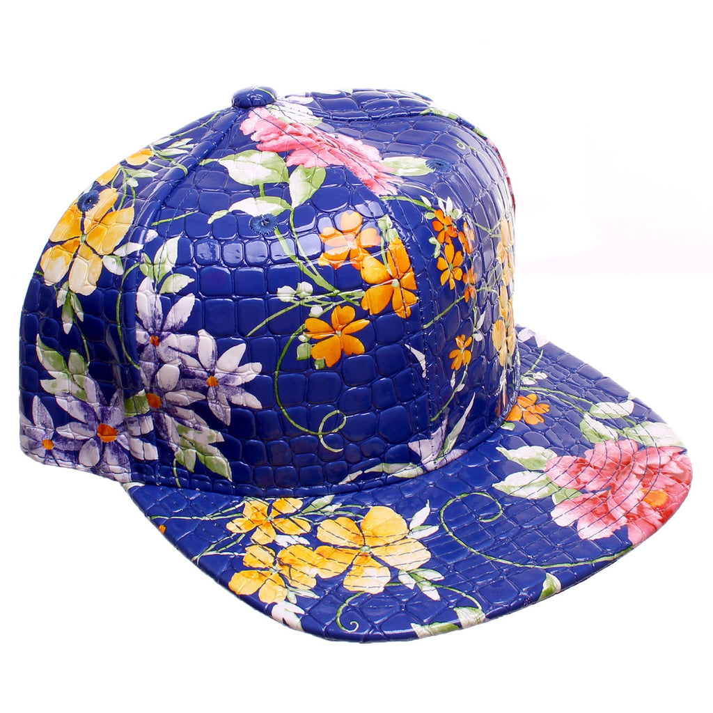 9c026b43e Blue Faux Alligator Floral All Over Print Snapback Baseball Cap – The Fly  Pelican