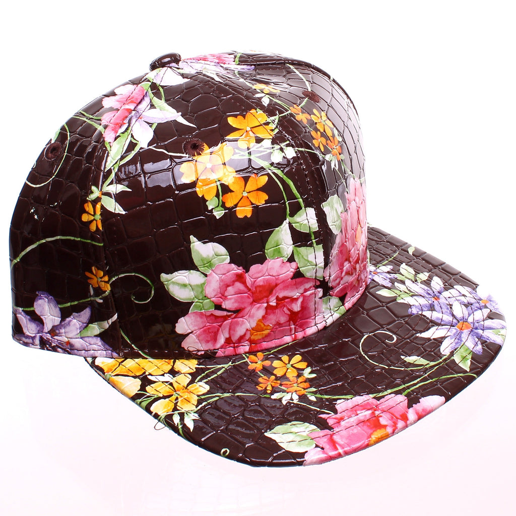 afebf28a4 Brown Faux Alligator Floral All Over Print Snapback Baseball Cap – The Fly  Pelican