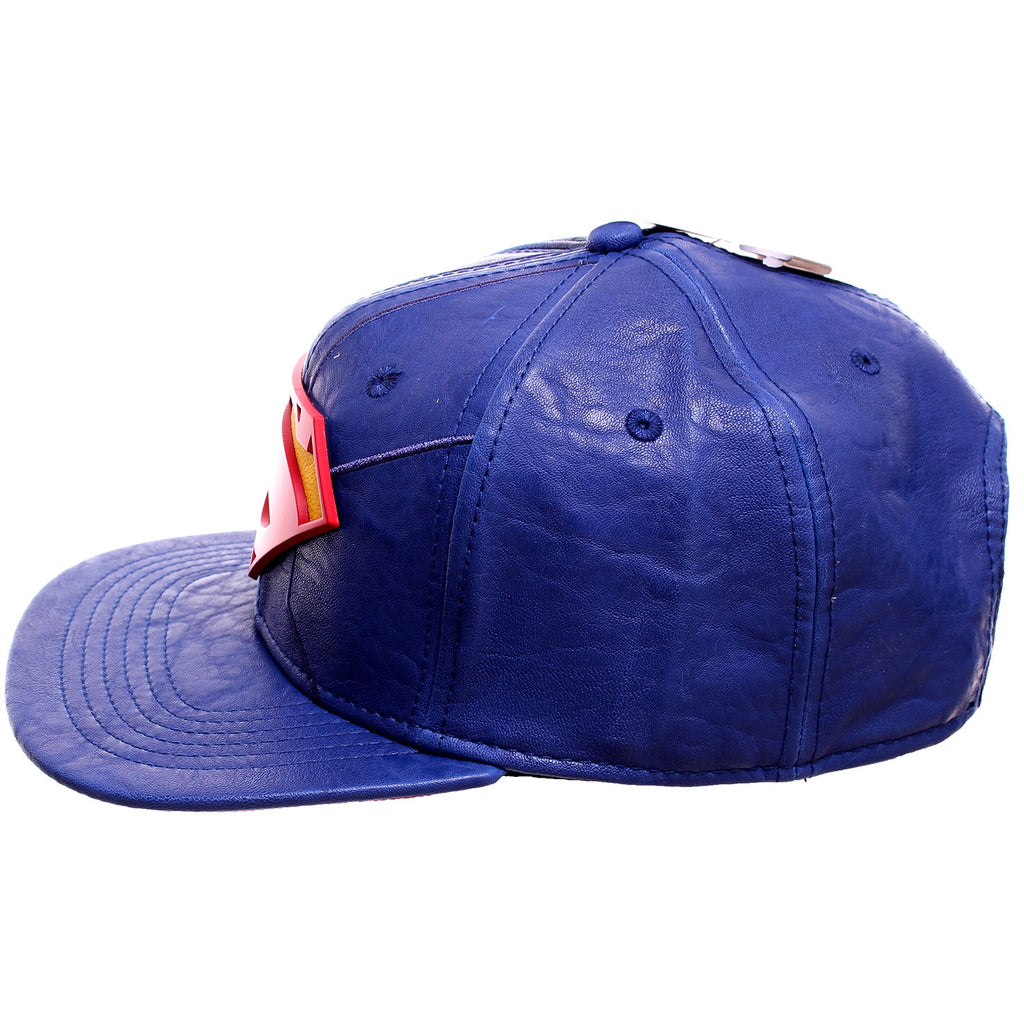 7cd0dba4ac998 DC Comics Superman 3D Logo Blue Faux Leather Snapback Baseball Hat ...