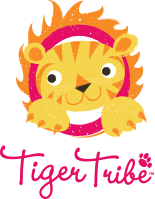 Tiger Tribe logo with yellow lion and text