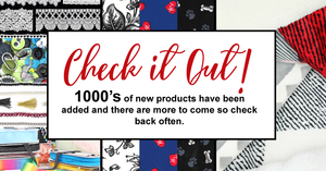 Fabricland Online Check it Out! notice.  1000s of new items added