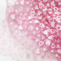 pink polyester tulle  with white heart