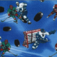 blue ground polyester fleece with hockey players