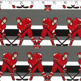 grey ground cotton flannelette with red hockey players