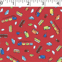 red ground cotton flannelette with colorful cars
