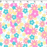 white ground cotton flannelette with flowers