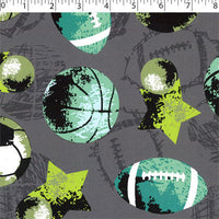 grey ground cotton flannelette with with balls