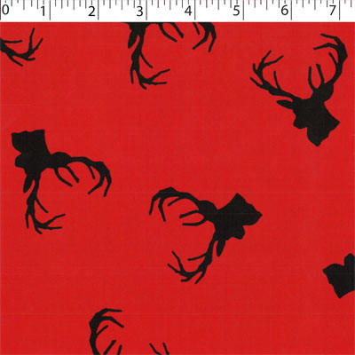 red ground cotton flannelette with dear head