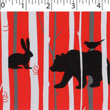 red ground cotton fabric with brich and animal prints