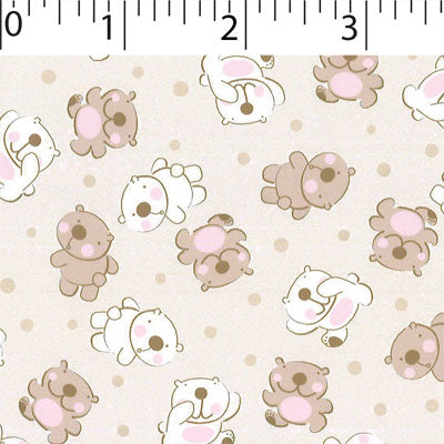 bone  ground cotton fabric with baby teddy  prints