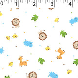 white ground cotton fabric with lions birds hippos prints frogs