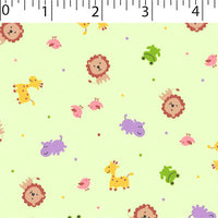 green  ground cotton fabric with lions birds hippos prints