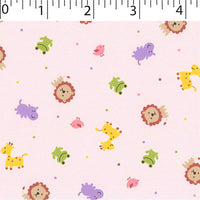 pink  ground cotton fabric with lions birds hippos prints