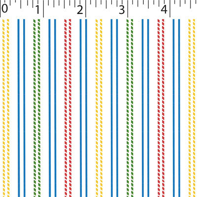 withe ground cotton fabric with primary stitched stripe prints