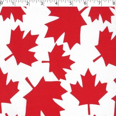 White ground cotton print with large red maple leaf