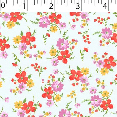 mist ground cotton fabric with medium flowers prints