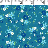 teal ground cotton fabric with medium flowers prints