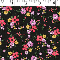 black ground cotton fabric with medium flowers prints