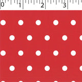 red ground cotton fabric with white big dot prints