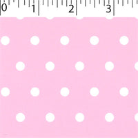 pink ground cotton fabric with white big dot prints