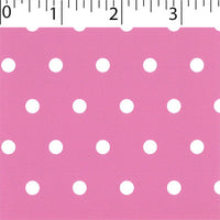 dk pink ground cotton fabric with white big dot prints