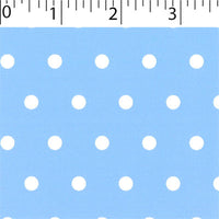 sky ground cotton fabric with white big dot prints