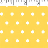 yellow ground cotton fabric with white big dot prints