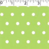 green ground cotton fabric with white big dot prints