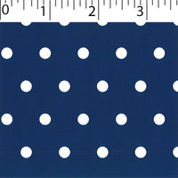 navy ground cotton fabric with white big dot prints