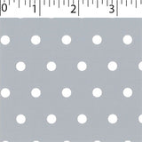 silver ground cotton fabric with white big dot prints