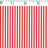 red ground cotton fabric with white little stripe prints