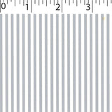 silver ground cotton fabric with white little stripe prints