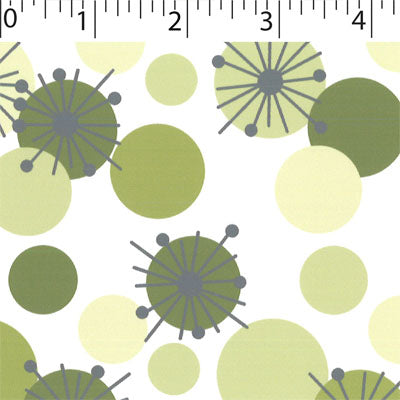white ground cotton fabric with green yellow  circle prints