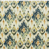 natural ground cotton fabric with blue geometric prints