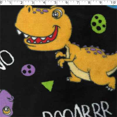 black polyester fabric with yellow dinosaur  prints