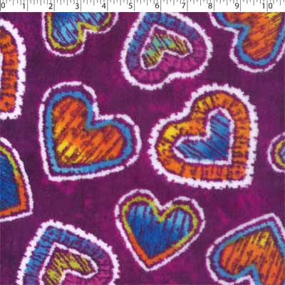 plum ground polyester fleece with hearts prints
