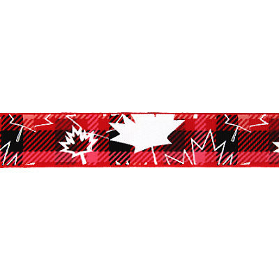 5103048 Printed Grosgrain 25mm - Maple Leaf Plaid