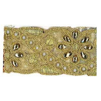 5949160 Trim Metallic Beaded Floral 4.5cm