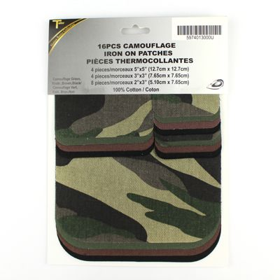 5974013 Camouflage Iron On Patches 16 Pcs Asst.