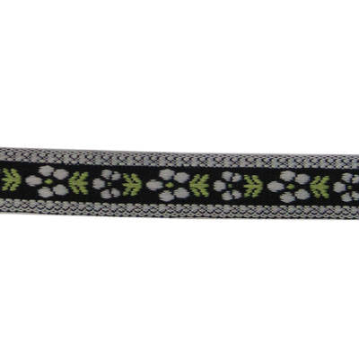 5991051 Jacquard Tape White & Green Flowers On Black 1.5cm