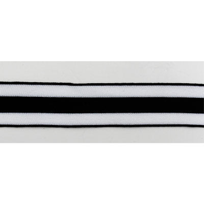 5991173 BLACK AND WHITE STRIPE KNITTED TRIM 38MM