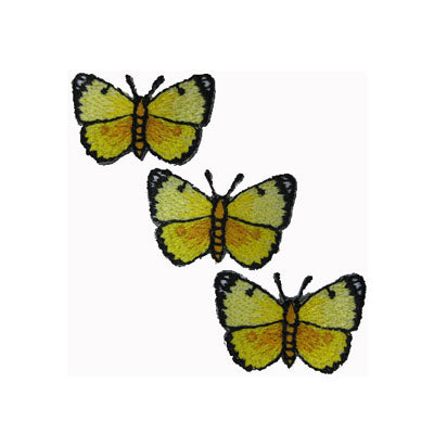 6136447 Applique 3 Yellow Butterflies 2.8cm x 2.2cm