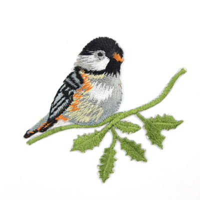 6136511 Applique Bird On Leaves 6.3cm x 5.2cm