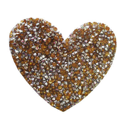 6136587 Applique Heart Rhinestone 7.5cm x 7cm