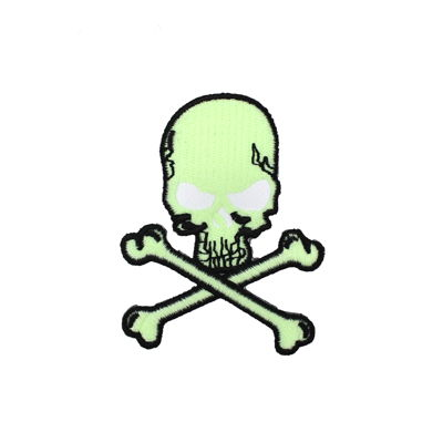 6136612 Skull Applique Glow In The Dark 5.5cm X 7.5cm