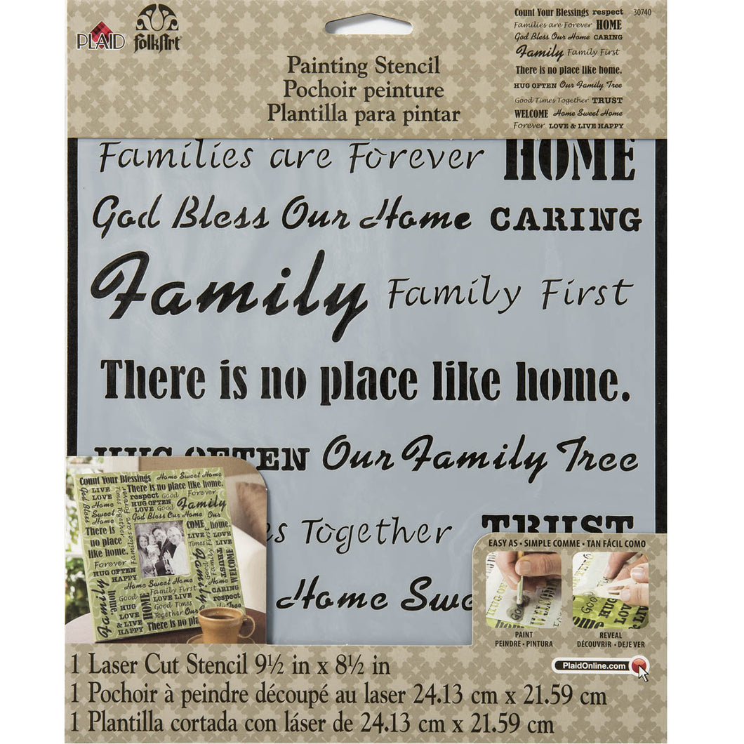 STENCIL WORDS/PHRASE FAMILY FOLK ART