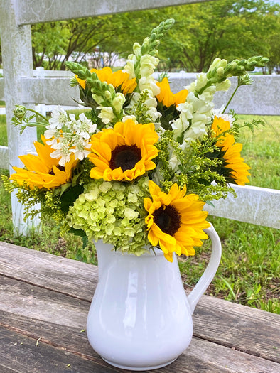 Mother's Joy Sunflower w/ Pitcher Vase