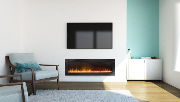 Ambe Linear 50 Electric Fireplace installed in living room front