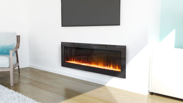 Ambe Linear 50 Electric Fireplace installed in living room side view