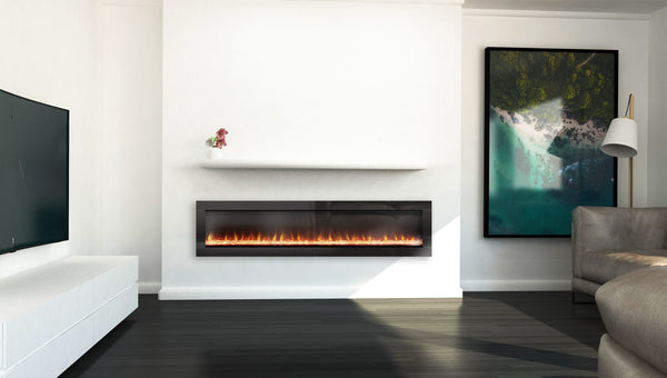 Ambe Linear 72 Electric Fireplace installed in living room